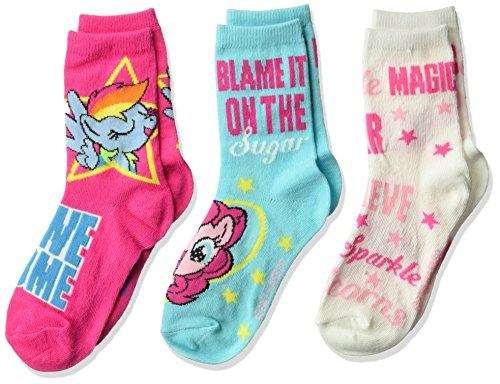 Hasbro Girls Little Pony 3 Pack Crew Socks, assorted, 6-8.5