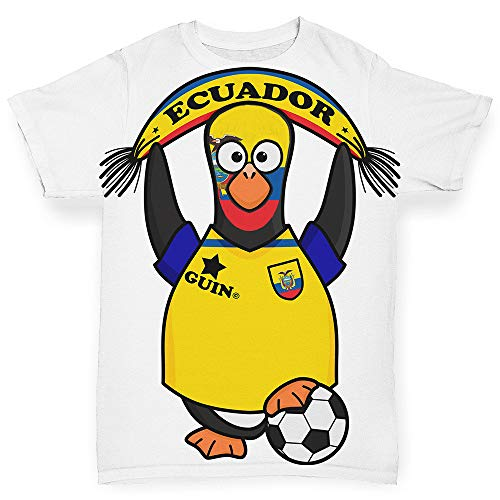 (TWISTED ENVY Infant Baby Tshirts Ecuador Guin Penguin Soccer Fan White 12-18 Months)