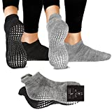LA Active Grip Socks - 2 Pairs - Yoga Pilates Barre Ballet Non Slip Covered (Slate Grey and Stellar Black), Medium