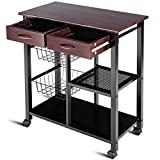 Costzon Rolling Kitchen Cart, Storage Trolley w/ 2 Drawers Baskets Stand Countertop Table