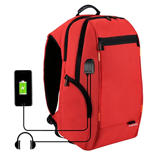 HAWEEL Multi-Function Outdoor Backpack, Water Resistant Laptop Backpack College School Bookbag for Men Women with USB Charging Port & Earphone Port 15.6 17 Inch Travel Bag (Red)