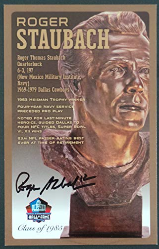 (PRO FOOTBALL HALL OF FAME Roger Staubach NFL Signed Bronze Bust Set Autographed Card with COA (Limited Edition #31 of 150))