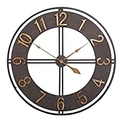 ZSJ Metal Decorative Wall Clock Brushed Wrought Iron Vintage 15.7in23.6in European Creative Living Room Bedroom Decoration Wall Clock