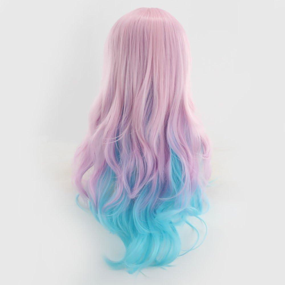 HongYu Peluca Larga Sección Anime Rosa Azul Gradiente Pelo ...