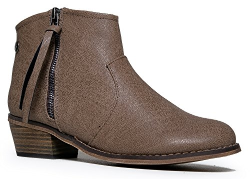 Breckelle's DORADO-11 Western Inspired Zip Up Ankle Boot Bootie
