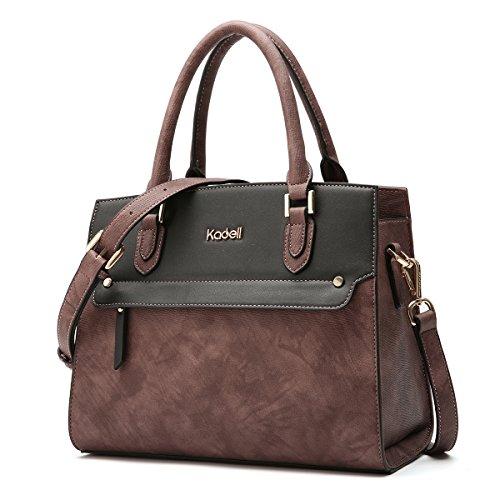 Kadell Women's Vintage Leather Handbags Tote Satchel Shoulder Bag Top Handle Purse Dark Brown