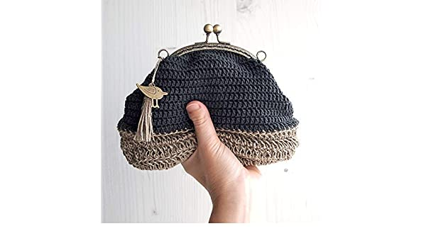 Bolso de ganchillo con base de hilo de cáñamo: Amazon.es ...