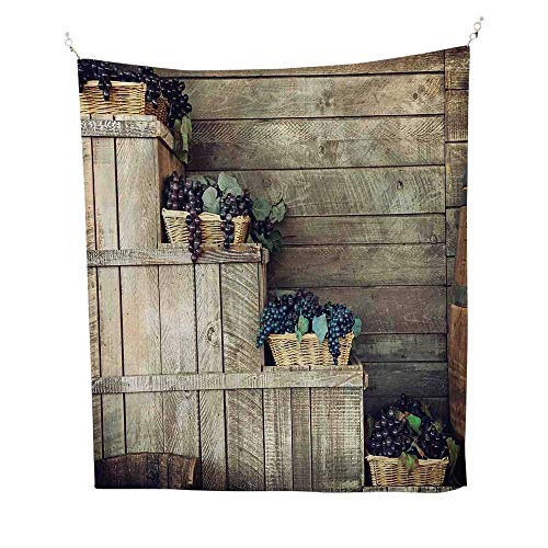 VineyardtapestryVarious Grapes in Wooden Wicker Basket Ivy Viniculture Gourmet Organic Photo 40W x 60L inch Wall tapestryBrown Purple
