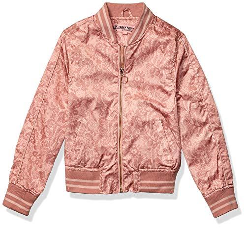 Urban Republic Toddler Girls Sateen LACE Print Bomber Jacket, Rose Smoke, 2T