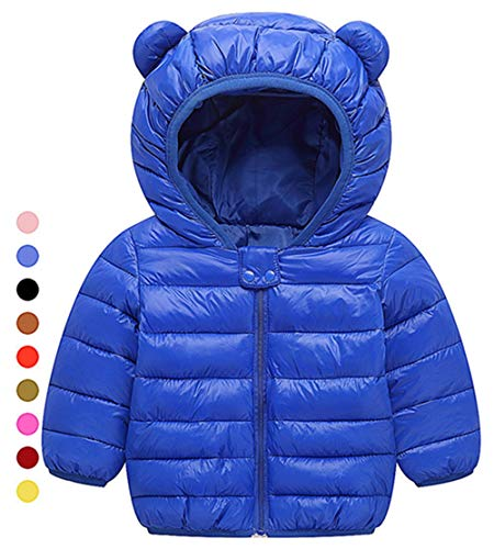Children Toddler Coat Kids Unisex Baby Boys Girls Coats Long Sleeve Warm Jacket Winter Outerwear Cute Dinosaur Active Windbreaker Clothes Windproof Lightweight Down Size 12-18 Months (Sapphire,80) by WEONEDREAM