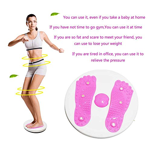 Twisting Waist Disc Bodytwister Ankle Body Aerobic Exercise Foot Exercise Fitness Twister Figure Trimmer Magnet Balance Rotating Board (Pink)