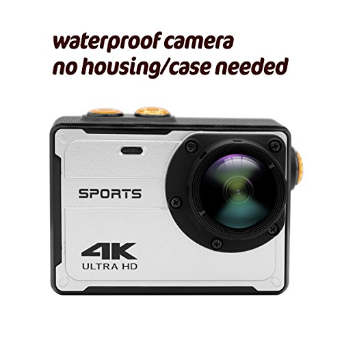 WIFI Action Camera Waterproof Cameras - 4K FHD 1080P Underwater Camera Diving Camcorder with Accessories for Kids, Snorkeling, Motorcycle, Bike, Helmet, Car, Ski and Water Sports (Silver)