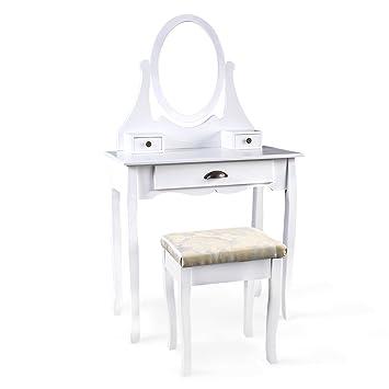 langria specchiera tavolo da trucco con specchio regolabile ... - Toilette Provenzale Con Specchio E Sgabello