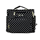 JuJuBe B.F.F Multi-Functional Convertible Diaper Backpack/Messenger Bag, Legacy Collection - The Duchess - Black with White Polka Dots