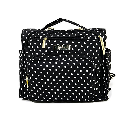- JuJuBe B.F.F Multi-Functional Convertible Diaper Backpack/Messenger Bag, Legacy Collection - The Duchess - Black with White Polka Dots