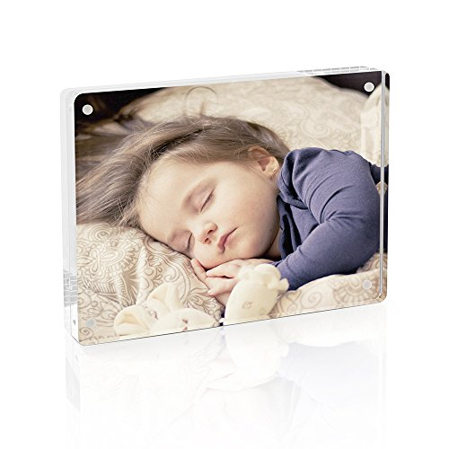 TWING Premium Acrylic 5x7 Picture Frame-Magnet Rounded Corner Picture Frame-Double Side Thick Desktop Frame