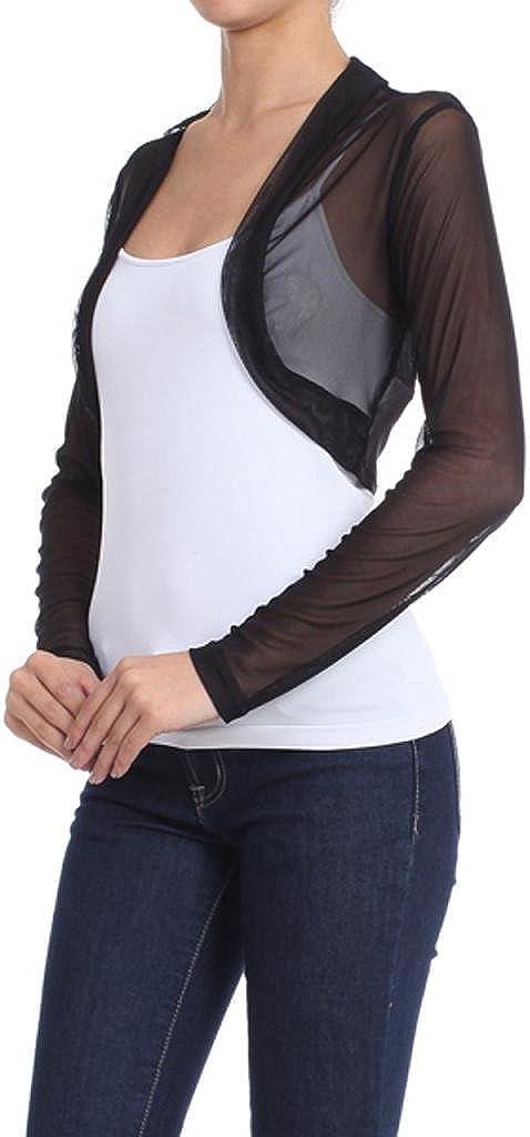 USA Solid Mesh Long Sleeve Open Front Bolero Crop Shrug S ~ L