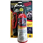 Counter Assault Bear Deterrent Mace Spray 8.1oz with pocket knife 4 8 oz high emmission fire-extinguisher style bottle Sprays up to 30 feet for 7 seconds Nylon carry holster and commemorative folding pocket knife included