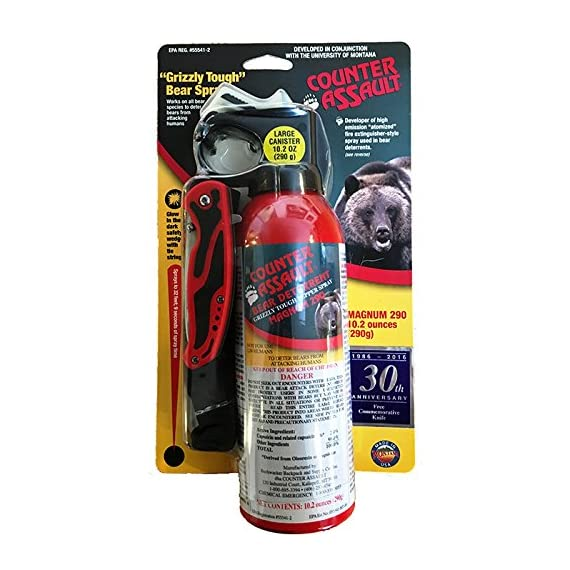 Counter Assault Bear Deterrent Mace Spray 8.1oz with pocket knife 1 8 oz high emmission fire-extinguisher style bottle Sprays up to 30 feet for 7 seconds Nylon carry holster and commemorative folding pocket knife included