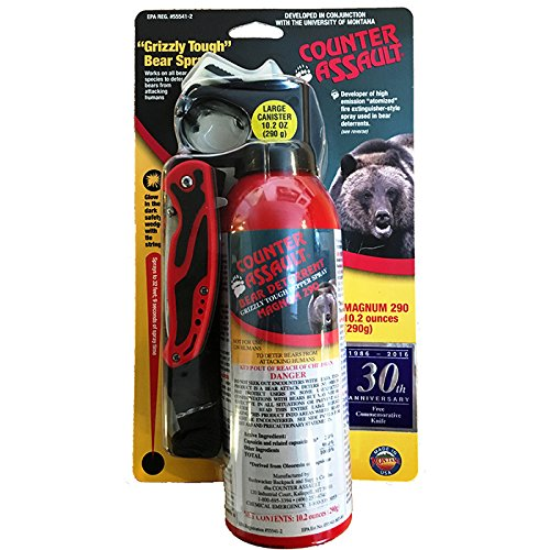 Counter Assault Bear Deterrent Mace Spray 8.1oz with pocket knife