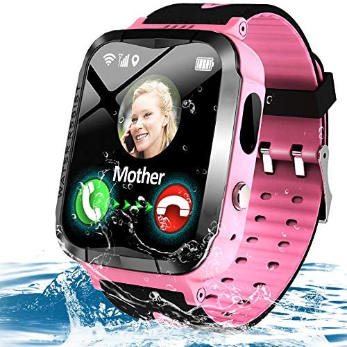 Kids Waterproof Smart Phone Watch GPS Tracker for 3-12 Year Girls Boys Two-Way Call SOS Camera Games Swim Camp Activity Tracker Electronic Learning Toy Holiday Xmas Birthday Gifts (Pink)