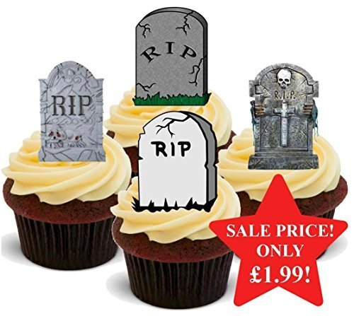 Halloween Gravestone Graveyard Scary Mix - Fun Novelty PREMIUM STAND UP Edible Wafer Paper Cake Toppers Decoration