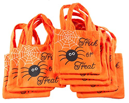 Halloween Spider and Web Fabric Loot Bags for Party or Trick or Treat Pack of 8 (Fabric Halloween Treat Bag)