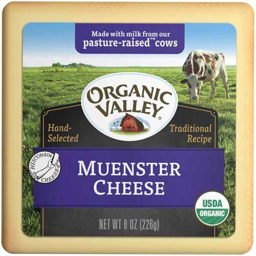 Organic Valley Organic Red Rind Muenster Cheese, 8 Ounce -- 12 per case.