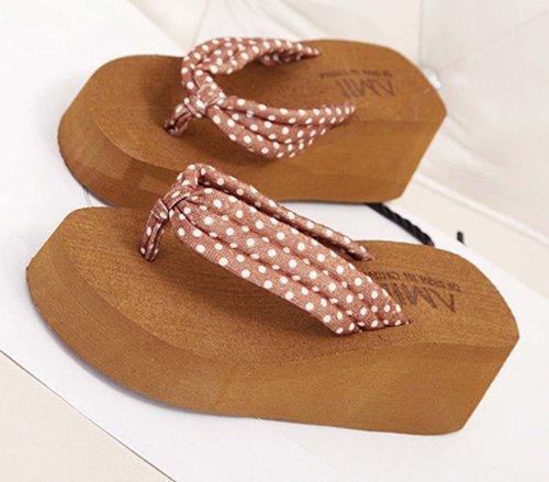 Dayiss®Süß Damenschuhe gepunktet Plateausandaletten Zehntrenner Sandalen Keilabsatz Freizeit Sandaletten Strandschuhe Braun