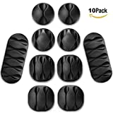 Desktop Cord holder, Cable Clips 10 Pieces Cable Organizer, Cord Management System for Your Wires, Computer, Earphone line, Charging and Mouse, Tachograph Cord, Black