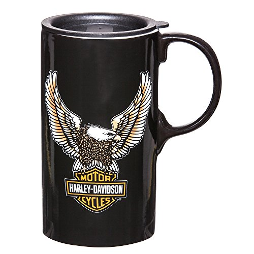 Glass Eagle Mug (Harley-Davidson Travel Latte Mug, Bar & Shield Eagle Tall Boy, 21 oz. 3TBT4907)