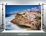 Photography Backdrops Portugal Seaside on The Cliffs with Sky View Mediterranean Ocean Village Europe 3D Backdrops for Photography Backdrop Photo Background Studio Prop