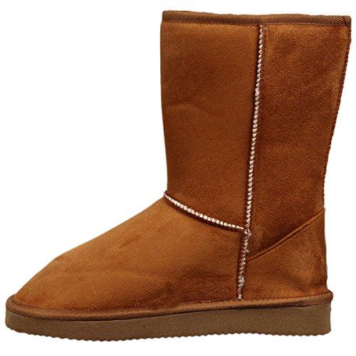 EJY Femme Hiver Chaudes Bottes Boots, Bottes de Neige Fourrées Cheville Chaussures Chameau