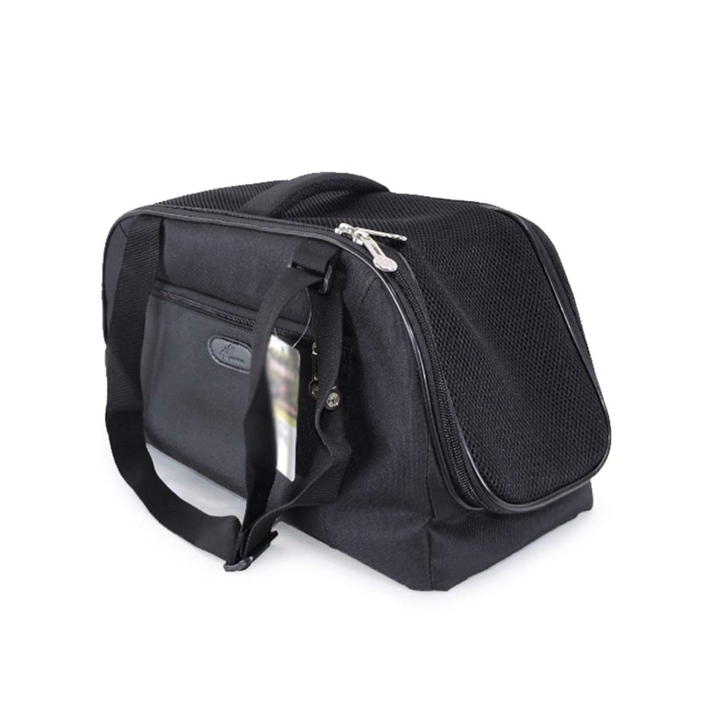 Black L Black L AIXIAO Pet Backpack for Small Dogs Cats Rabbits, Soft-sided Mesh Pup Pack for Outdoor Travelling, Removable Fleece Mat, with Built-in Collar Buckle 48cm x 22cm x 26cm (color   Black, Size   L)