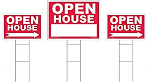 """Open House Sign Kit - 3 Double Sided Signs & 3 Heavy Duty Stakes - Red Property Signs 18"""" X 24"""" and 12"""" X 18"""" - Yard Signs with Directional Arrows – Professional Realty Signs (Open House Kit - Red)"""