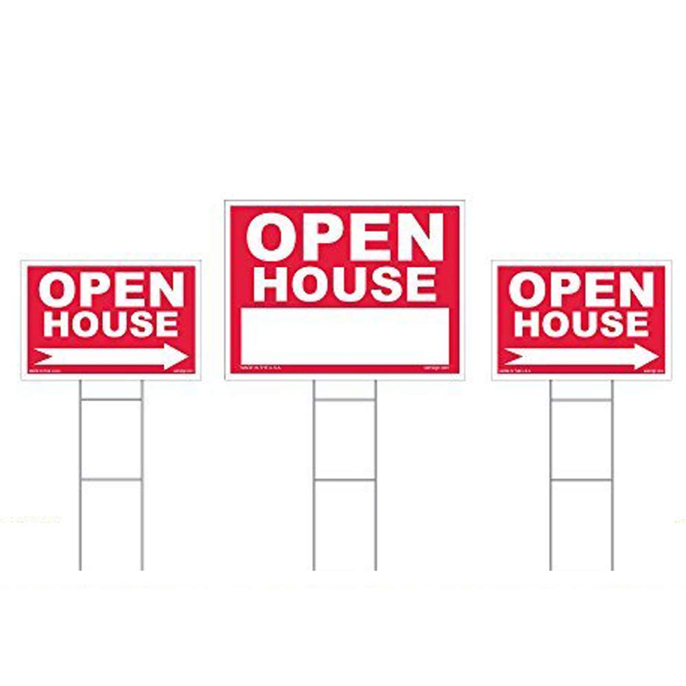 UV Resistant Realtor Agent Suppl Red Property Signs 18 X 24 and 12 X 18 Professional Realty Lawn Signs Yard Signs With Directional Arrows 3 Double Sided Signs /& 3 Heavy Duty Stakes Tear proof /& Weatherproof Open House Sign Kit