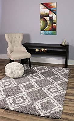 Super Area Rugs Cozy Plush Trellis Shag Rug