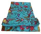 Bird Print King Size Kantha Quilt Sky Blue , Kantha Blanket, Bed Cover, King Kantha bedspread, Bohemian Bedding Kantha Size 90 Inch x 108 Inch