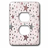 3dRose lsp_268418_6 Pattern of Vintage Patchwork Stars in Pastel Colors Plug Outlet Cover, Mixed