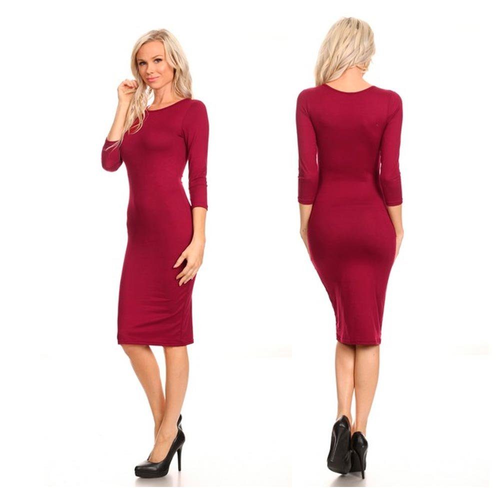 Women Casual Dress Fitted 3/4 Sleeve Bodycon Stretch Pencil Hourglass Midi Red L