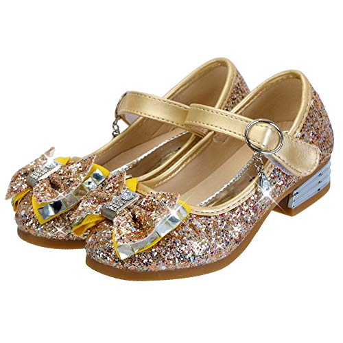 DOREI Toddler/Little Kids Girls Gold Glitter Sequins Ballet Flats Mary Janes Princess Girls Party Dress Shoes