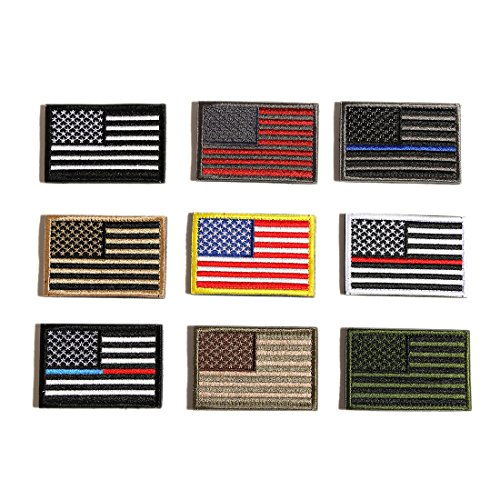 Security Uniform Patches (GEORLD Bundle 9 Pieces American Flag Velcro Patch for Uniforms Jackets Security Motorcycle Patches)