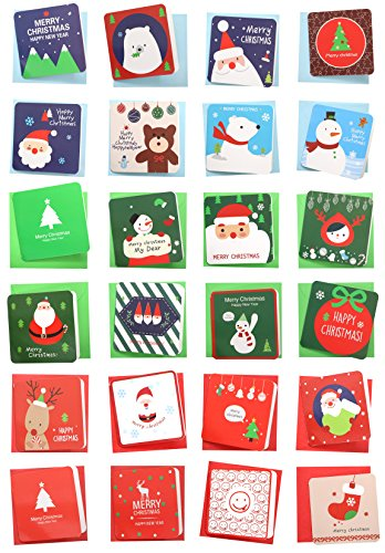 24 Pack Mini Christmas Greeting Cards & Envelopes, Cute Stweety Small Size 3.5