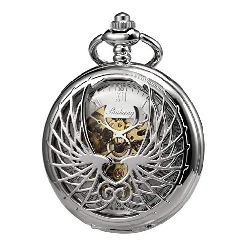 - TREEWETO Men's Women's Pocket Watch Mechanical Skeleton Eagle Wings Double Hollow Case Roman Numeral with Chain Gift Box