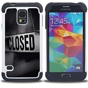 Dragon Case- Dise?¡Ào de doble capa pata de cabra Tuff Impacto Armor h??brido de goma suave de silicona cubierta d FOR Samsung Galaxy S5 I9600 G9009 G9008V- BLACK WHITE CLOSED MESSAGE STORE SIGN