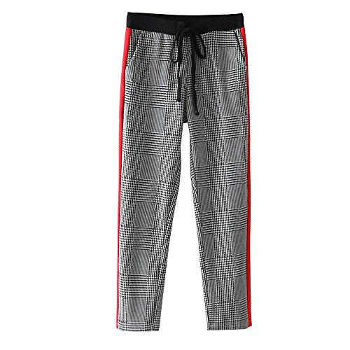 YVYVLOLO Womens Slim High Waist Drawstring Plaid Casual Long Pants