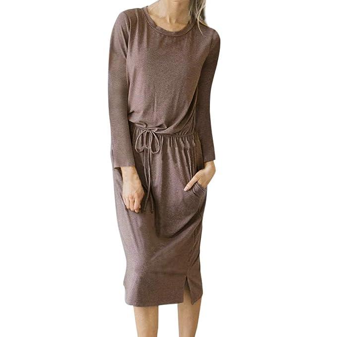 360d109ac3cd Styledresser Abito Donna Eleganti da Cerimonia Lunghi Taglie Forti,Donne  MoSolido Lungo Manica O-Collo Bendare metà Polpaccio Lunghezza Tasca Vestito:  ...