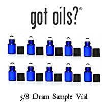 Your Oil Tools® Pack OF 10 5/8 DRAM BLUE GLASS SAMPLE ROLLER VIALS WITH STAINLESS STEEL ROLLER TOPS AND BLACK CAP