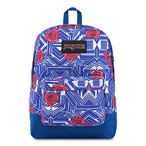 JanSport Black Label Superbreak Backpack - Lightweight School Bag | Rose Heart Spray - Web Rose
