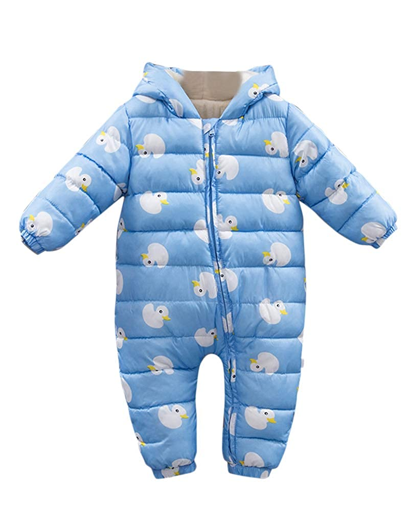 PengGengA Newborn Baby Girls Boys Thick Warm Cute Printed Duck Snowsuit Hooded Romper Jumpsuit Playsuit Clothing